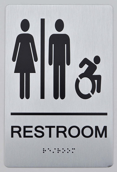 NYC Restroom Sign -Tactile Signs Accessible Restroom - ADA Compliant Sign.  -Tactile Signs The Sensation line  Braille sign