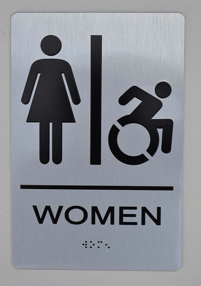 NYC Women Accessible Restroom Sign -Tactile Signs The Sensation line  Braille sign