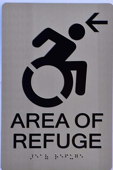 area of refuge arrow left sign