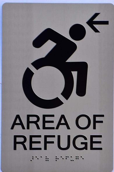 area of refuge arrow left Sign -Tactile Signs The Sensation line  Braille sign