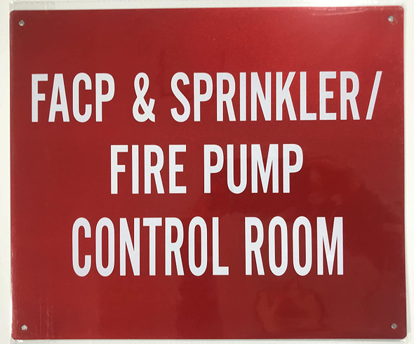 Sprinkler FIRE Pump Control Room Sign- RED - (Reflective !!! Aluminum, )