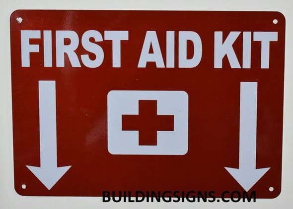 First Aid Kit Sign with Down Arrow Sign