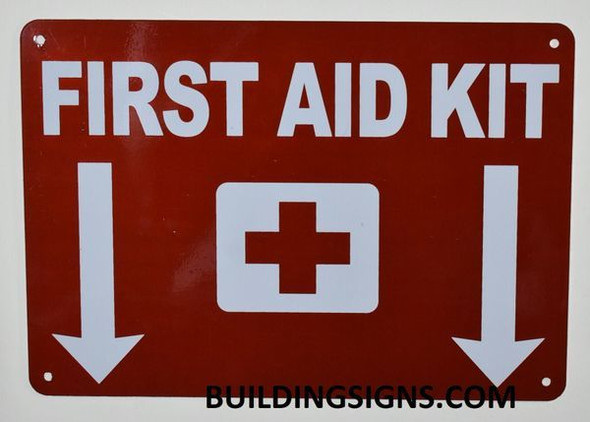 First Aid Kit Sign with Down Arrow