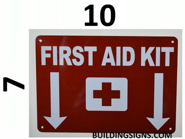 First Aid Kit SIGNAGE with Down Arrow