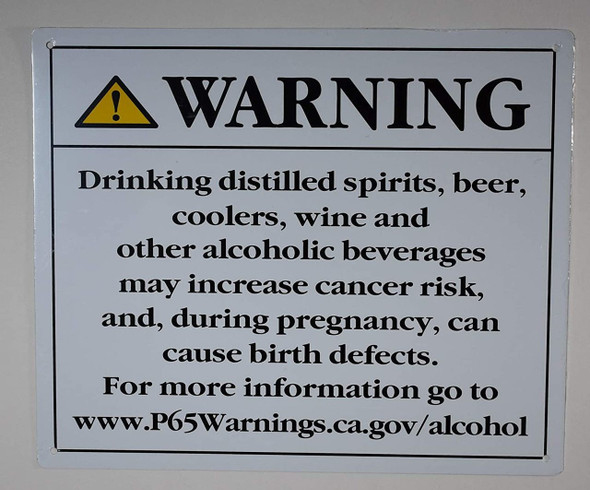 California Prop 65 Alcohol Warning Sign-The Official Sign (White, Rust Free Aluminium 10X12)