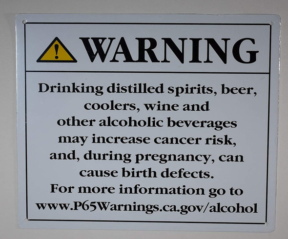 California Prop 65 Alcohol Warning Sign-The Official Sign (White, Rust Free Aluminium 7x10)