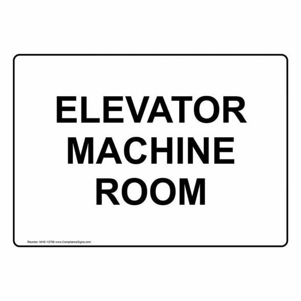 Elevator Machine Room Sign (WhiteReflective, Aluminium )-