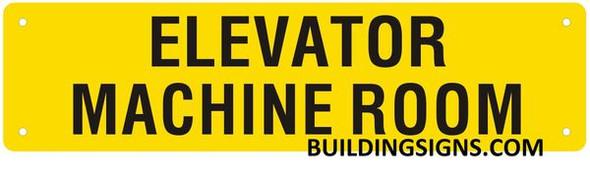 Elevator Machine Room SIGNAGE (Yellow, Reflective, Aluminium)