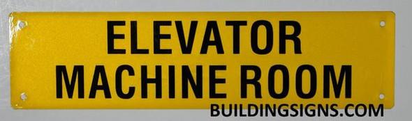 Elevator Machine Room Sign (Yellow, Reflective, Aluminium)