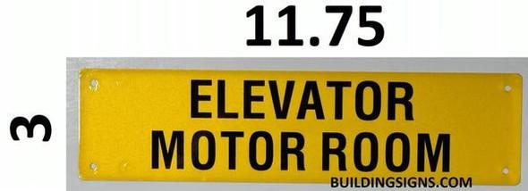 Elevator Motor Room SIGNAGE (Yellow, Reflective, Aluminium)