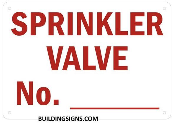 Sprinkler Valve Number Signage