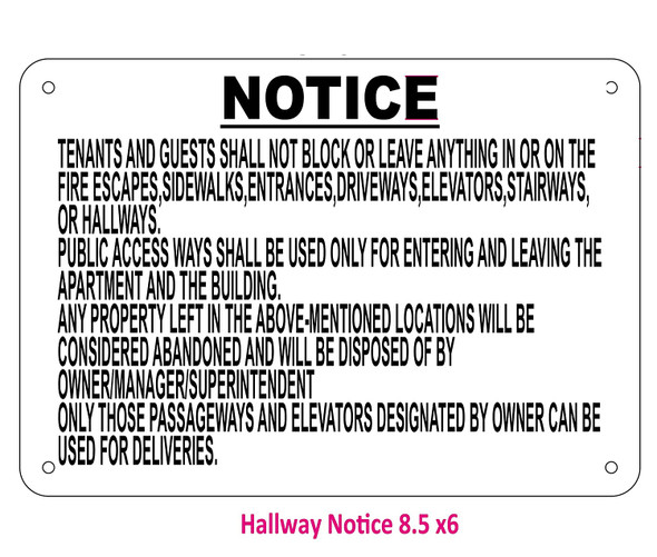 Do not block Hallway sign