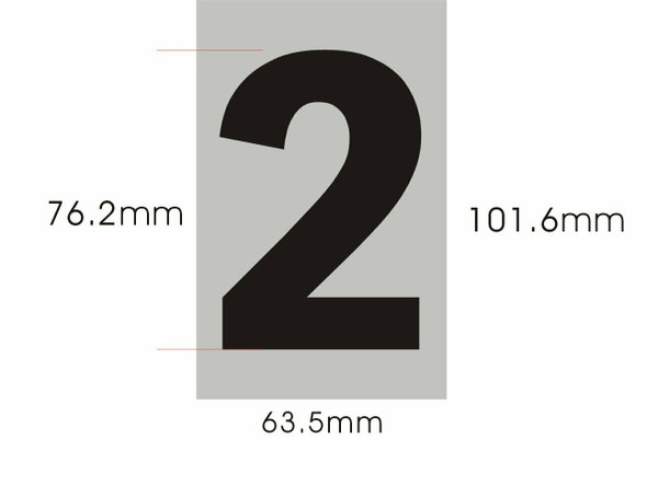 Apartment Number Sign Two (2) (Brush Aluminium