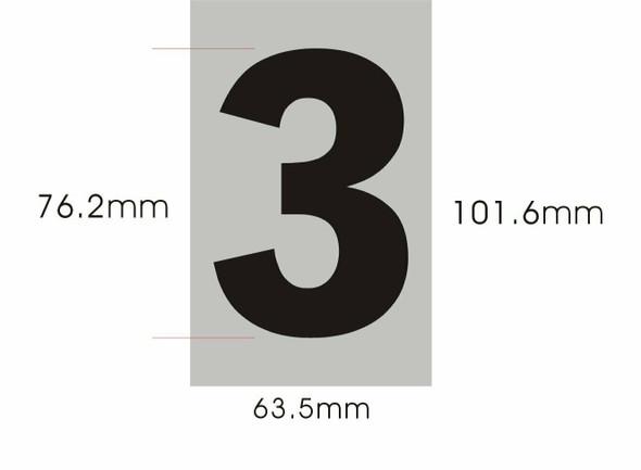 Apartment Number Sign - Three (3)(Brush Aluminium, Size 2.5X4) - Porte D'argent line
