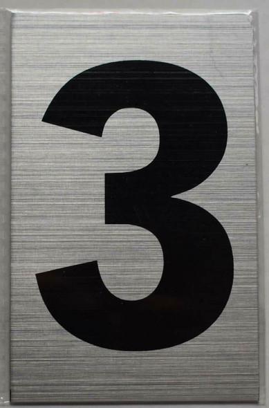 Apartment Number Sign - Three (3)(Brush Aluminium