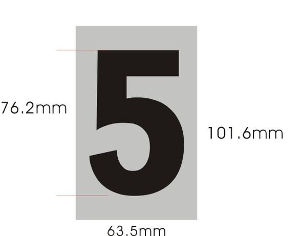 Apartment Number Sign Five (5) (Brush Aluminium