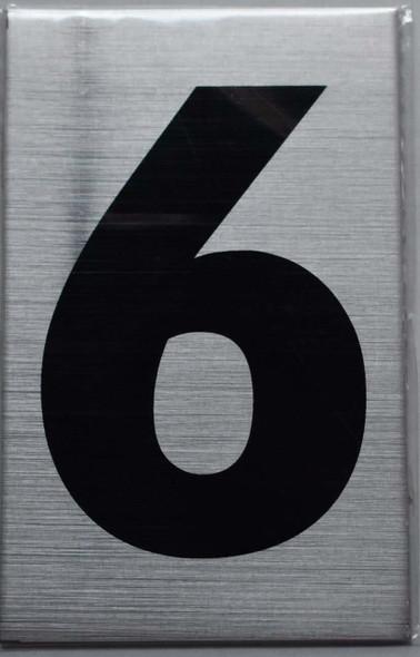 Apartment Number Sign Six (6) (Brush Aluminium