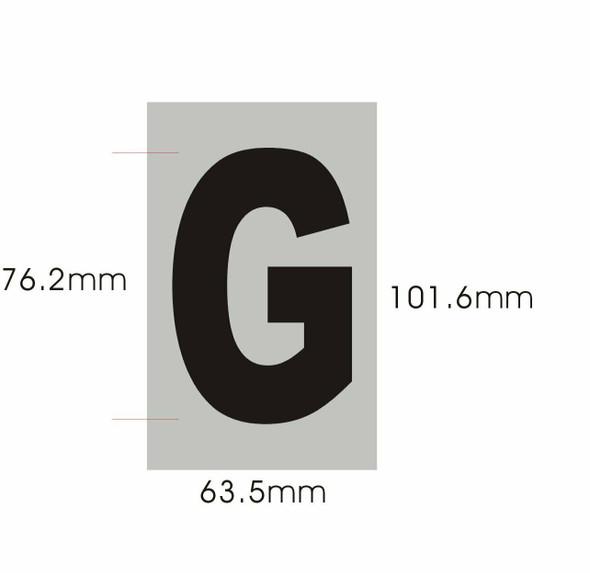 Apartment Number Sign - Letter G Brush Aluminium, Size 2.5X4) - Porte D'argent line