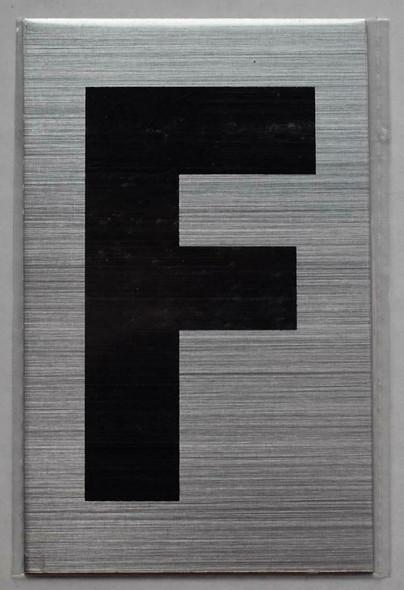 Apartment Number Sign - Letter F Brush Aluminium