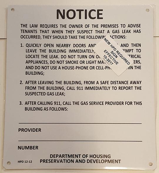 GAS LEAK NOTICE  Signage