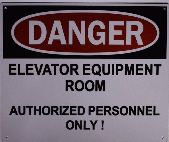 Danger Elevator Equipment Room Sign (Aluminium Reflective, White )