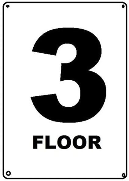 Floor number 3 sign