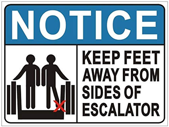 Keep Feet Away from Sides of Escalator Sign