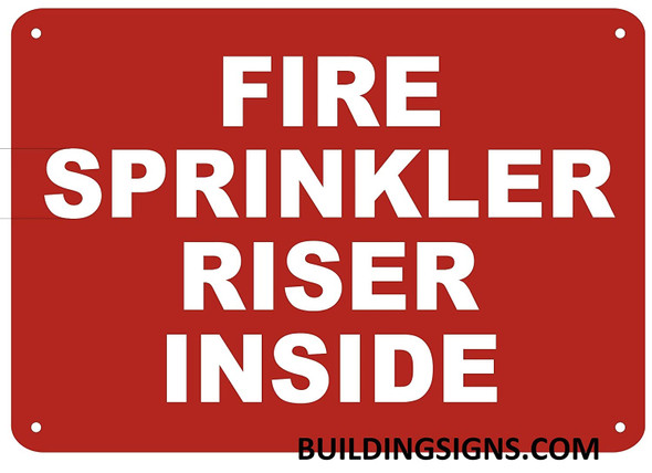 FIRE Sprinkler Riser Inside Sign RED,,