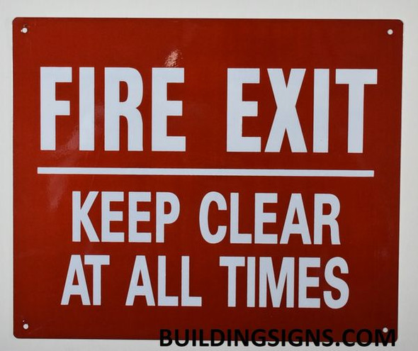 FIRE EXIT Keep Clear at All Times Signage