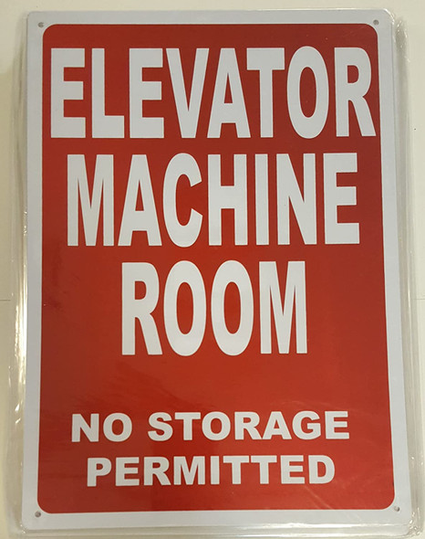 ELEVATOR MACHINE ROOM SIGNAGE (RED Reflective SIGNAGEs, RED)