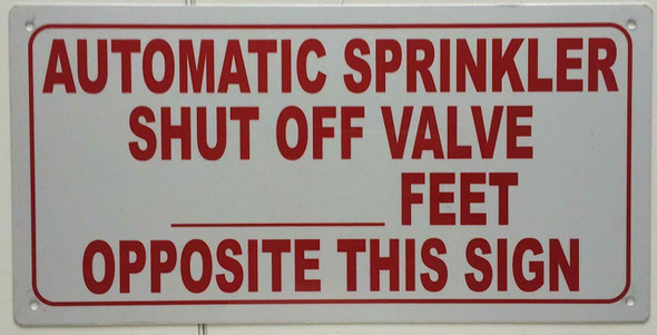 Automatic Sprinkler Shut Off Valve Sign