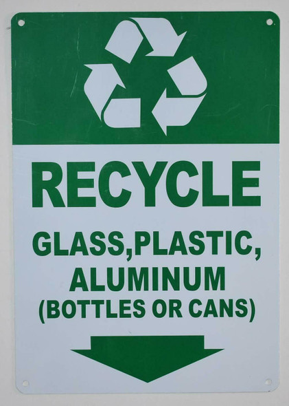 Recycle Glass,Plastic,Aluminium (Bottles OR CANS) Signage