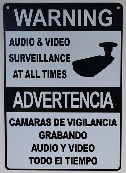 Warning Audio & Video Surveillance on Duty at All Times Signage