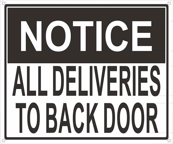 All Deliveries to Back Door Signage