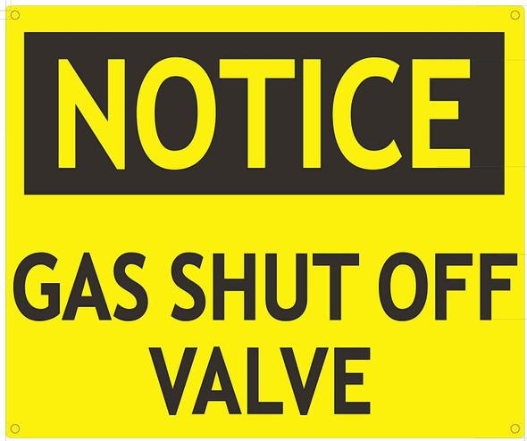 Notice Gas Shut Off Valve Sign
