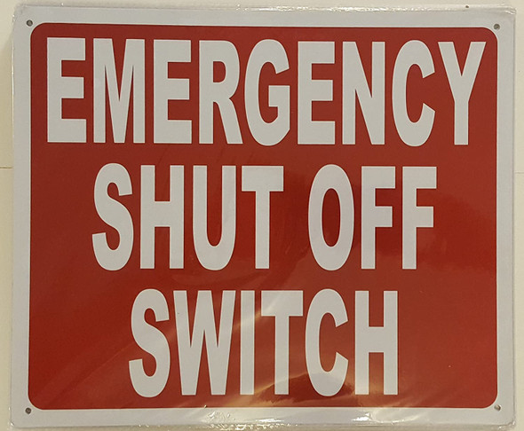 Emergency Shut Off Switch Sign red,