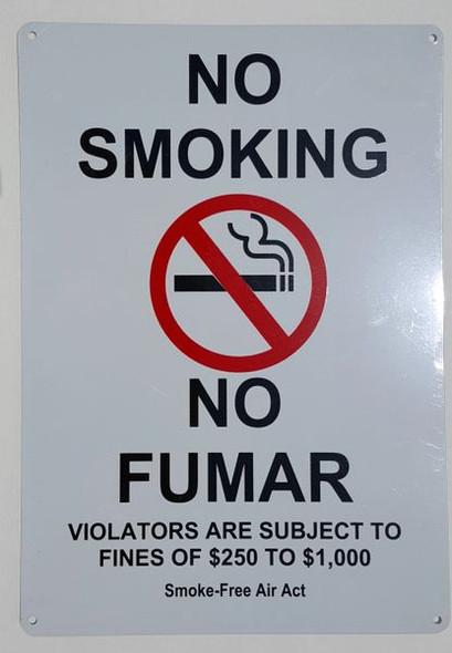 NO SMOKING VIOLATORS ARE SUBJECT TO FINES OF $250-$1000 Smoke free Air Act Building Frame