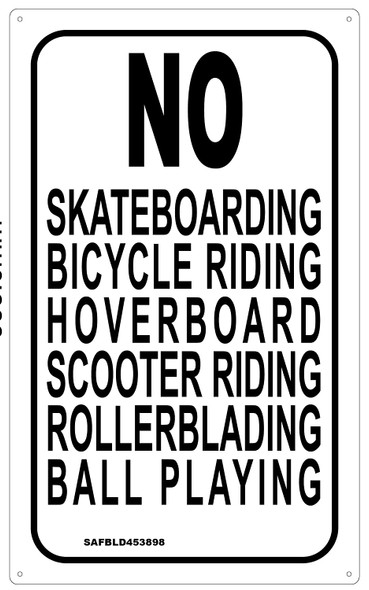 No Skateboarding Bicycle riding, Hoverboard scooter riding Rollerblading ball playing sign