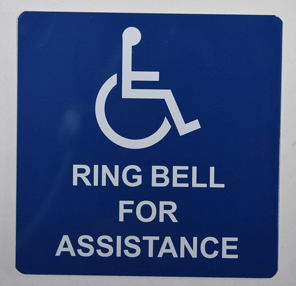 ADA-Access Ring Bell for Assistance Sign -The Pour Tous Blue LINE -Tactile Signs   Braille sign