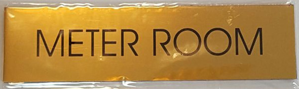 METER ROOM SIGN  Gold Aluminum