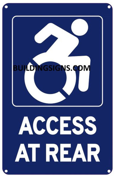 ADA-Access at Rear Sign -The Pour Tous Blue LINE -Tactile Signs   Braille sign