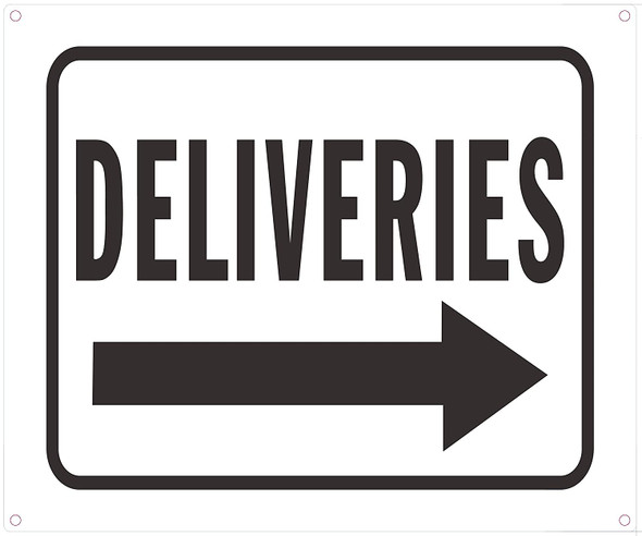 Deliveries Right Arrow Sign