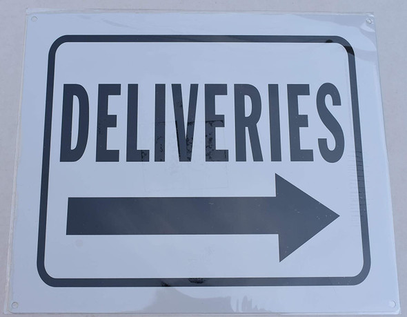 Deliveries Right Arrow Signage