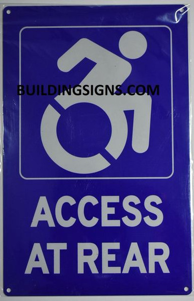 Wheelchair Access at Rear SIGN -The Pour Tous Blue LINE -Tactile Signs  Ada sign