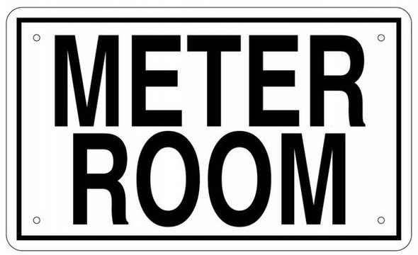 METER ROOM SIGN- WHITE ALUMINUM