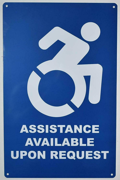 Assistance Available Upon Request SIGN -The Pour Tous Blue LINE -Tactile Signs  Ada sign