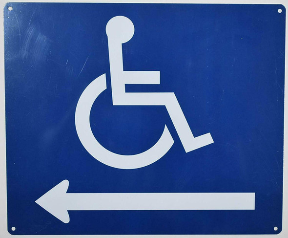 Wheelchair Accessible Symbol Sign -Tactile Signs Left Arrow -The Pour Tous Blue LINE  Braille sign