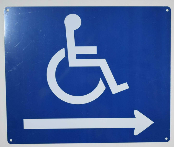 Wheelchair Accessible Symbol Sign -Tactile Signs Right Arrow -The Pour Tous Blue LINE Ada sign