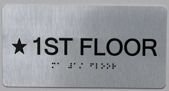 1ST Floor Sign- Floor Number Tactile Touch Braille Sign