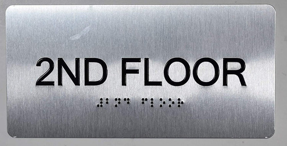 2nd Floor Sign- Floor Number Tactile Touch Braille Sign